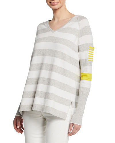 Petite Beach Stripe V-Neck Raglan-Sleeve Sweater