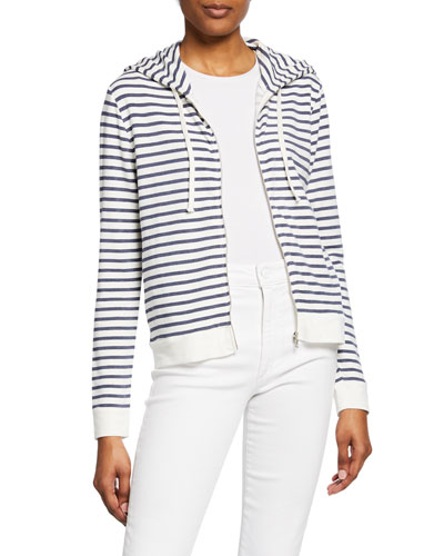 Striped Zip-Front French-Terry Hoodie