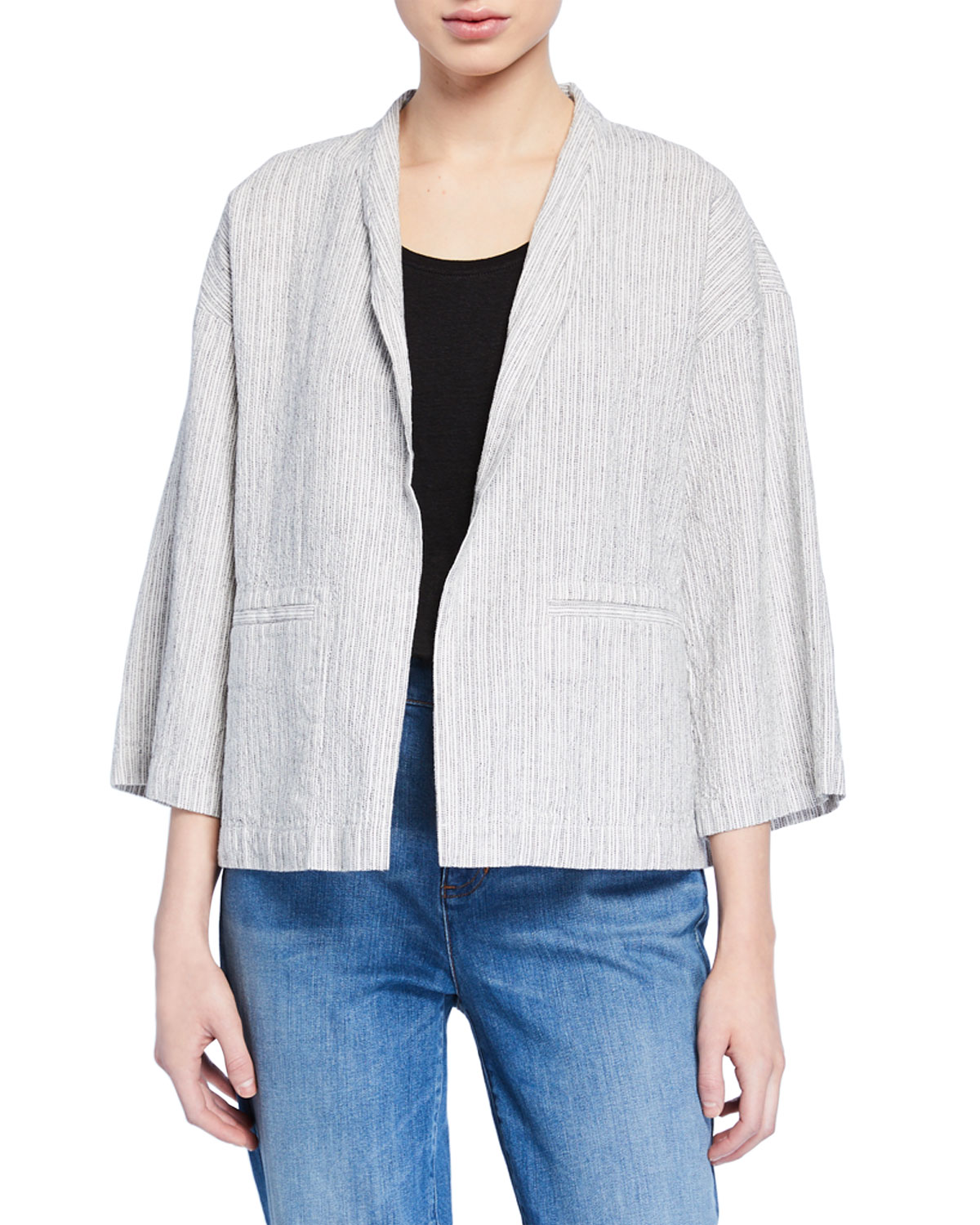 Eileen Fisher Jackets PLUS SIZE TICKING STRIPE OPEN-FRONT ORGANIC LINEN/COTTON JACKET
