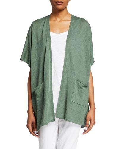 Organic Linen/Cotton Short-Sleeve Cardigan