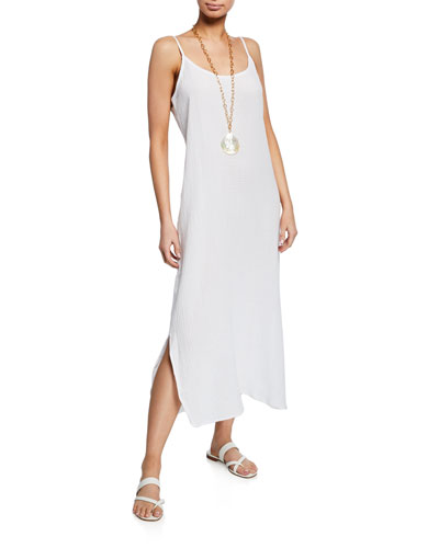 Petite Lofty Organic Cotton Gauze Maxi Slip Dress