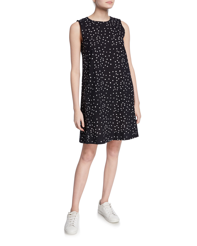 Eileen Fisher Dresses DOT HAND-PRINTED SLEEVELESS ORGANIC COTTON SHIFT DRESS