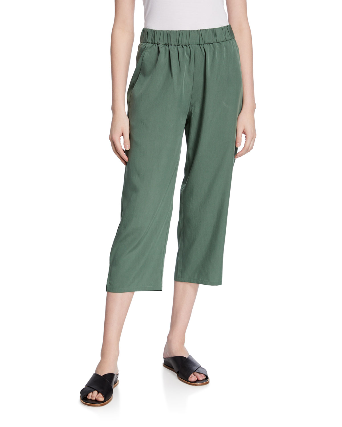 Eileen Fisher Pants PETITE SANDWASH SLOUCHY STRAIGHT-LEG CROP PANTS