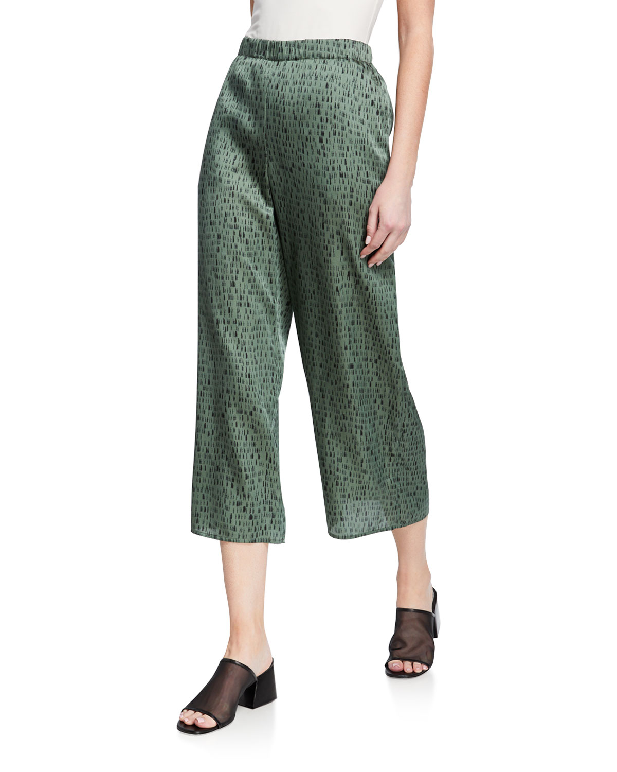 Eileen Fisher Pants PETITE DASH PRINT WIDE-LEG SILK/ORGANIC COTTON CROP PANTS