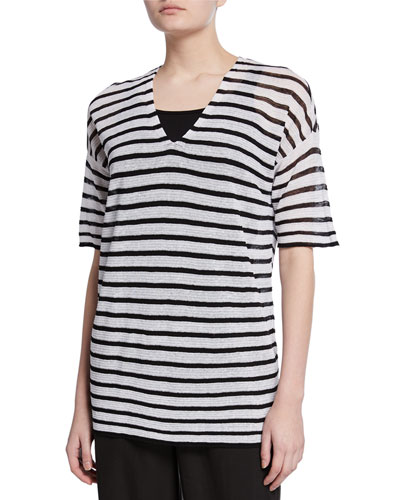 Plus Size Striped V-Neck Elbow-Sleeve Organic Linen Crepe Sweater