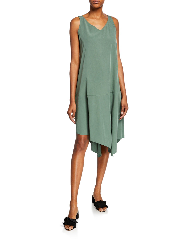 Eileen Fisher Dresses PETITE SANDWASHED V-NECK SLEEVELESS ASYMMETRIC SHIFT DRESS