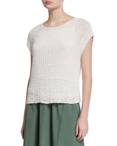 Petite Bateau-Neck Tape Cap-Sleeve Sweater