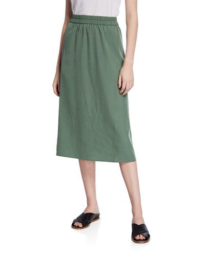 Plus Size Sandwashed Midi Skirt