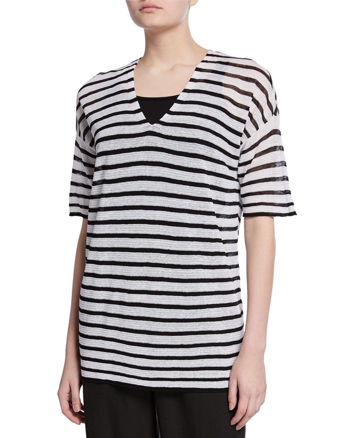 Eileen Fisher Sweaters STRIPED V-NECK ELBOW-SLEEVE CREPE SWEATER