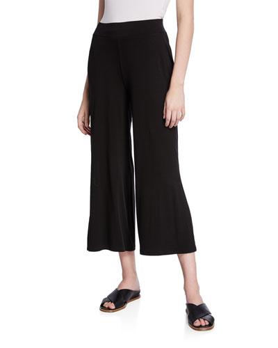 Petite Wide-Leg Side-Slit Jersey Crop Pants