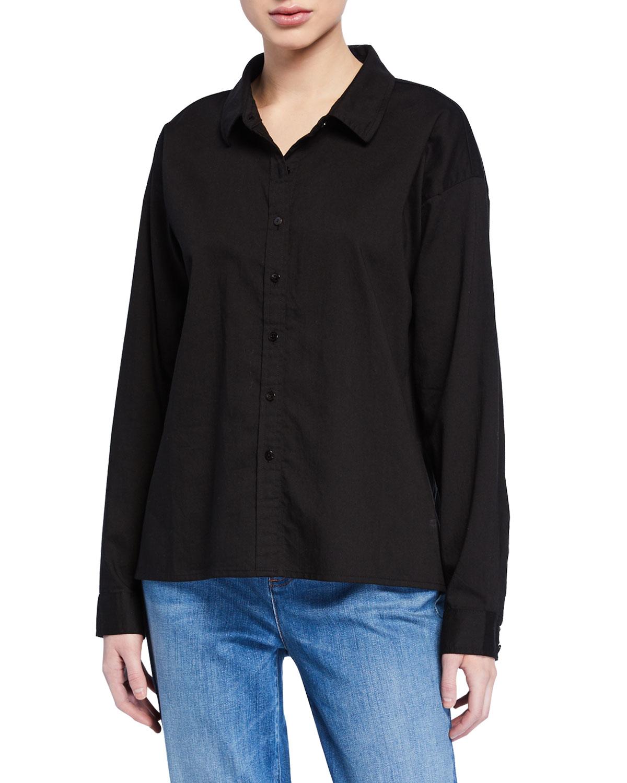 Eileen Fisher T-shirts PETITE BUTTON-DOWN SOFT ORGANIC COTTON TWILL SHIRT
