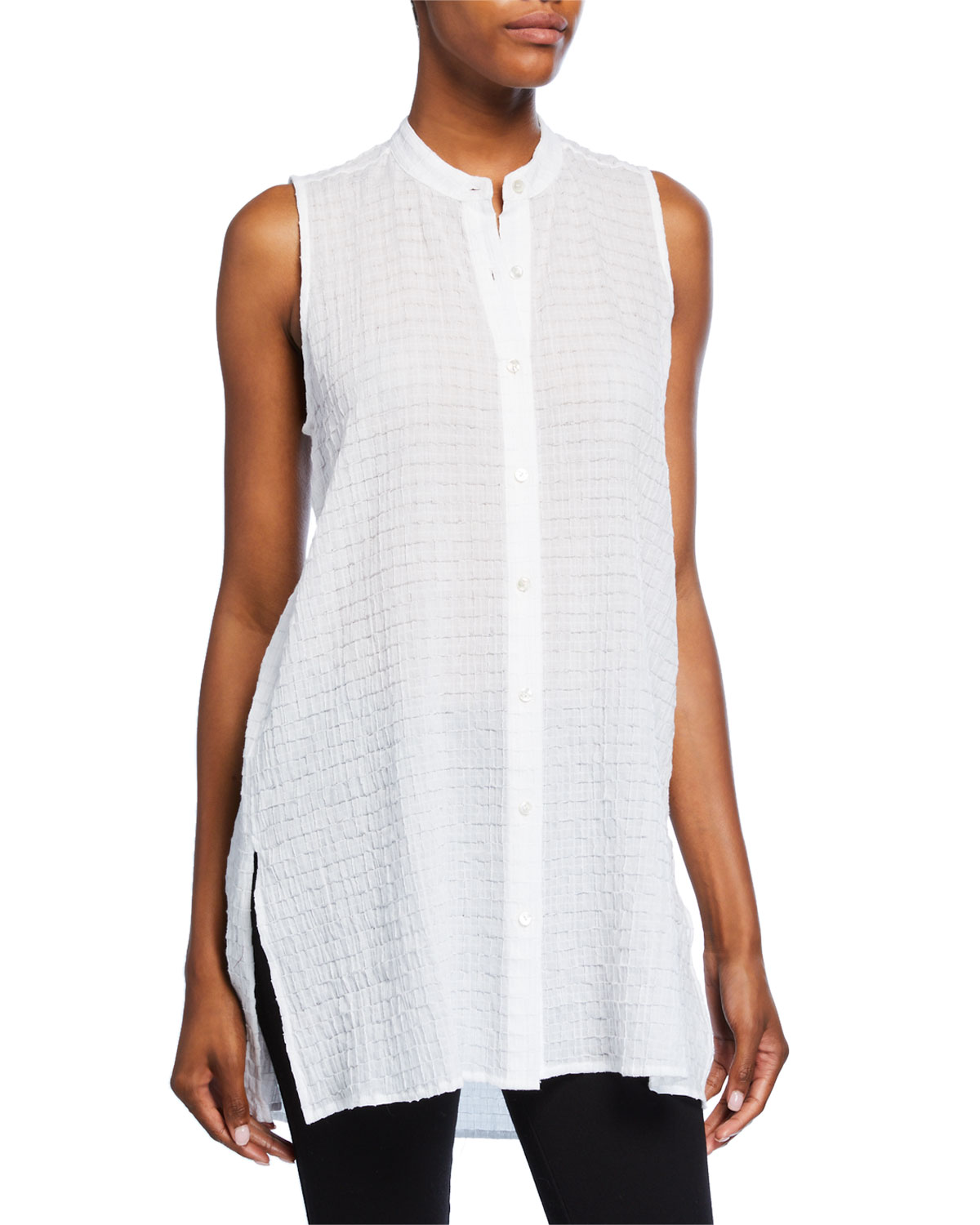 Eileen Fisher T-shirts PETITE ORGANIC COTTON VOILE SLEEVELESS BUTTON-FRONT LONG BOX SHIRT