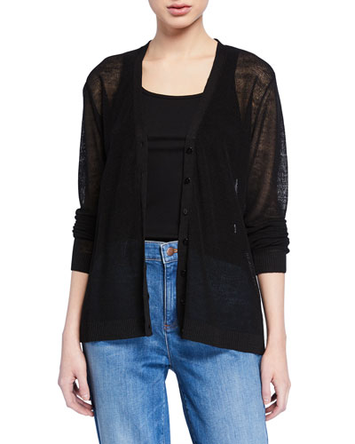 V-Neck Button-Front Long-Sleeve Fine Crepe Cardigan