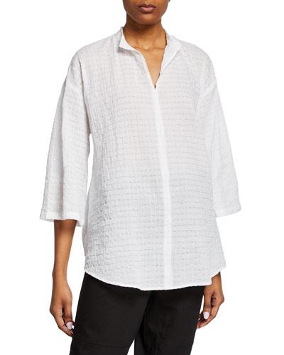 Split-Neck 3/4-Sleeve Organic Cotton Voile Tunic