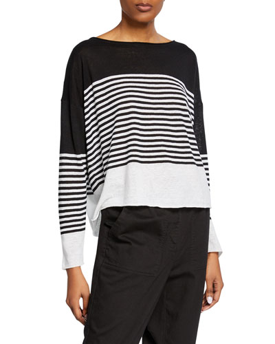 Colorblock Striped Long-Sleeve Organic Linen/Cotton Sweater