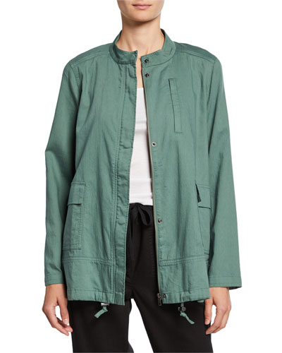 Petite Stand Collar Zip-Front Organic Cotton Twill Jacket