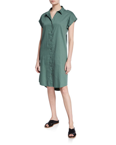 Plus Size Organic Cotton Twill Cap-Sleeve Long Shirtdress