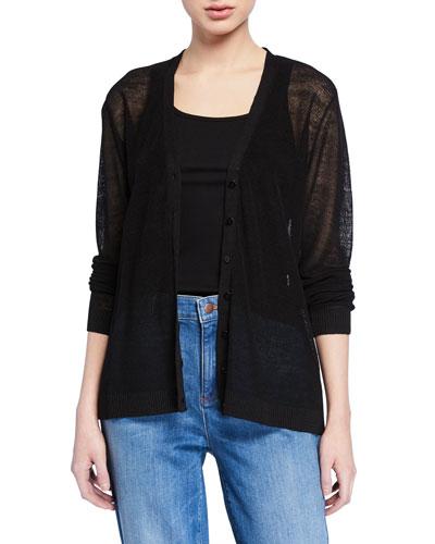 Plus Size V-Neck Button-Front Fine Crepe Knit Cardigan