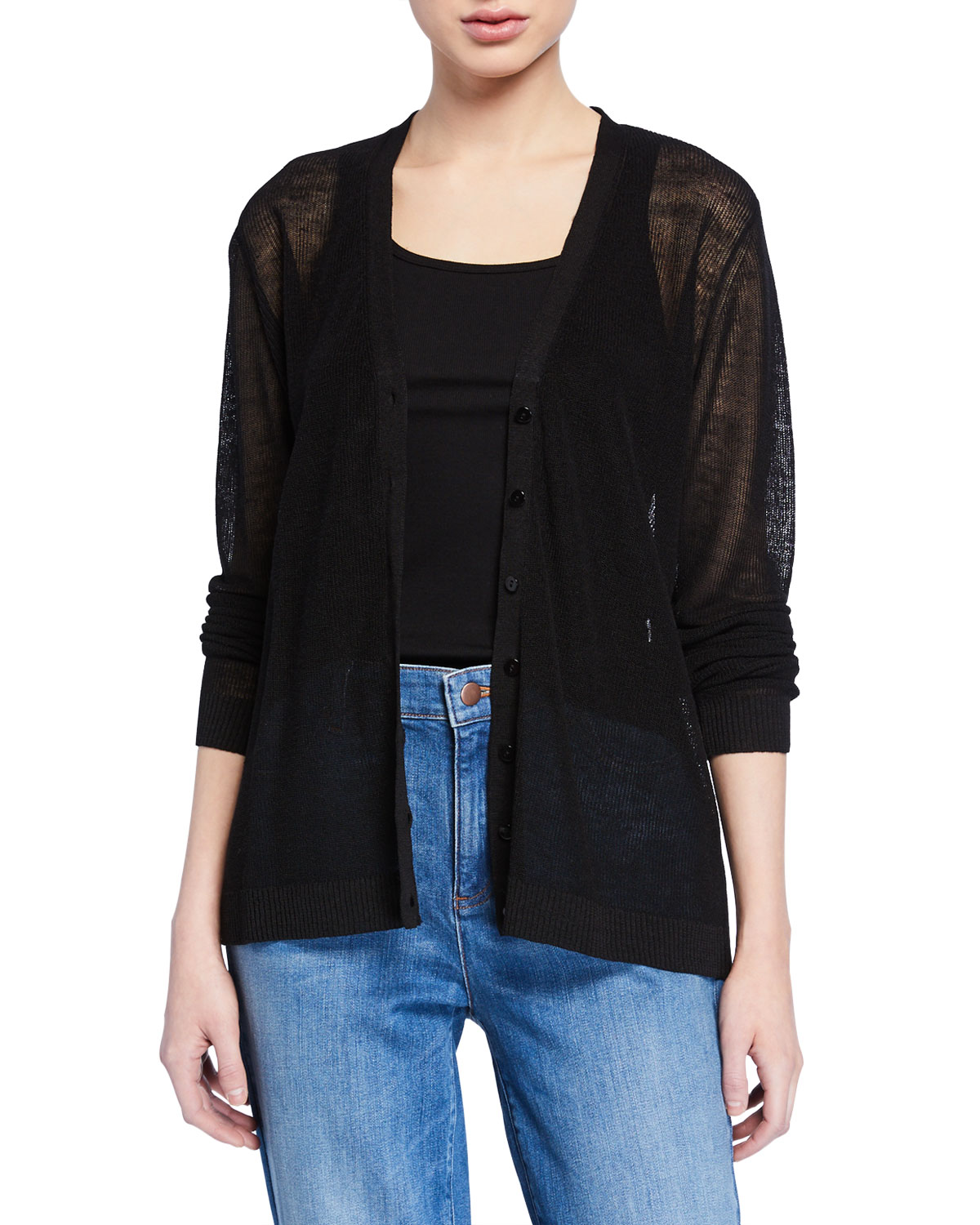 Eileen Fisher Knits PLUS SIZE V-NECK BUTTON-FRONT FINE CREPE KNIT CARDIGAN