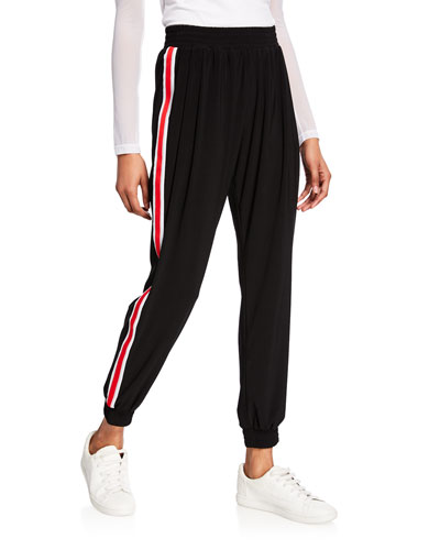 Daniella Side-Stripe Pull-On Jersey Jogger Pant