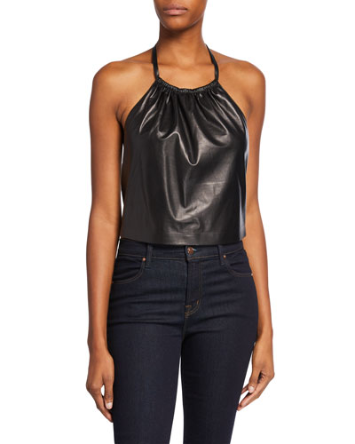 Miley Cropped Faux-Leather Halter Top