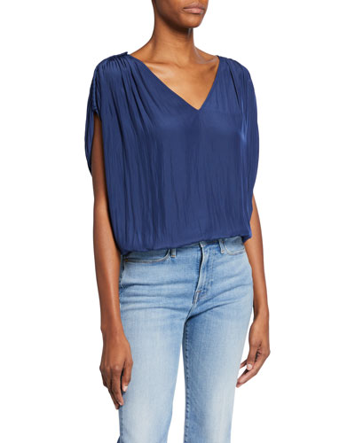 Adela Short-Sleeve Cropped Blouse
