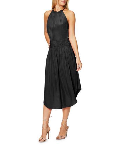 Marti Shirred High-Neck Cocktail Dress