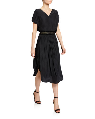 Phoebe Short-Sleeve Beaded-Waist Maxi Dress