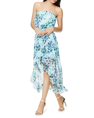 Manon Floral-Print Strapless High-Low Ruffle Dress