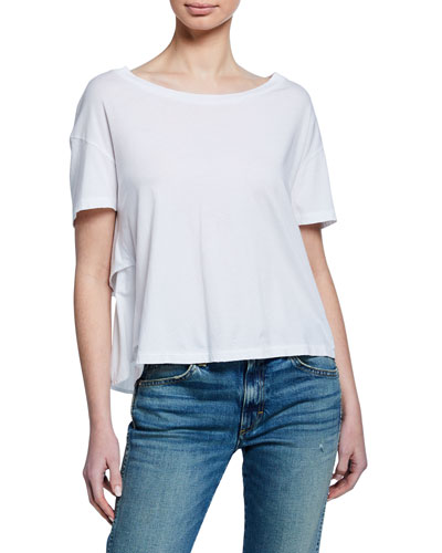 Boat-Neck Short-Sleeve Boxy Ruffle-Back Cotton Tee