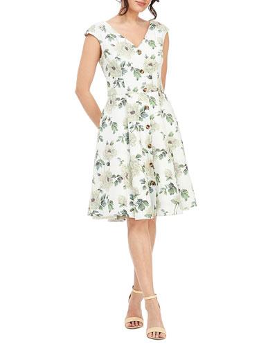 80391089d1a1 Flared Cap Sleeves Dress