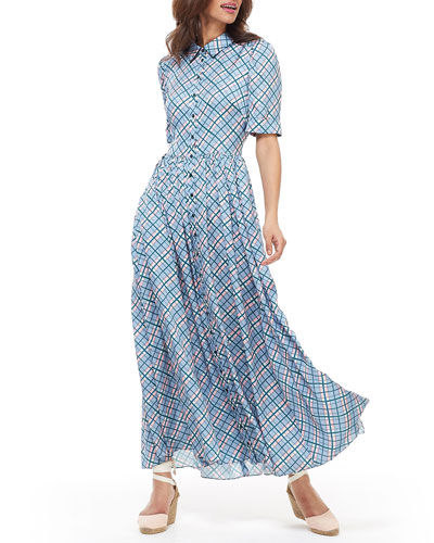 756ef6a0668 Quick Look. Gal Meets Glam Collection · Plaid Button-Down Short-Sleeve Maxi  Dress