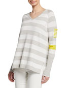 Lisa Todd Plus Size Beach Stripe V-Neck Raglan-Sleeve