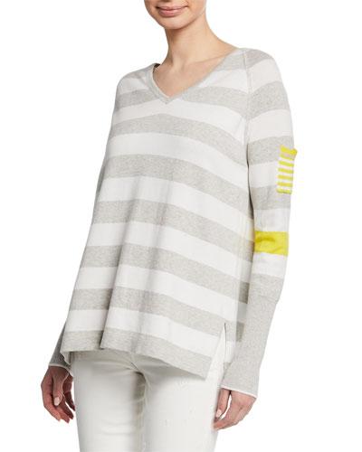 Plus Size Beach Stripe V-Neck Raglan-Sleeve Sweater