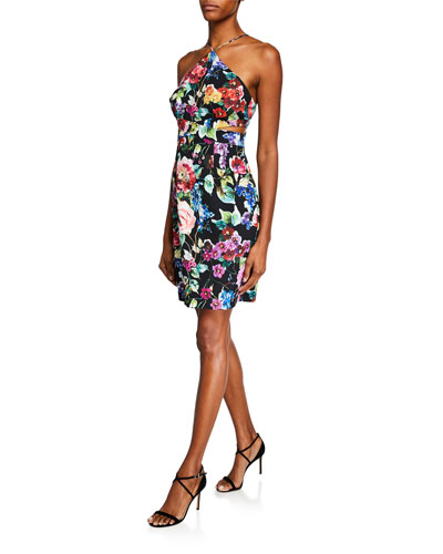 Floral-Printed Crepe Halter Dress
