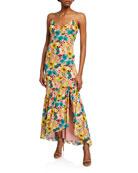 Aidan by Aidan Mattox Floral-Print Spaghetti-Strap Maxi Dress