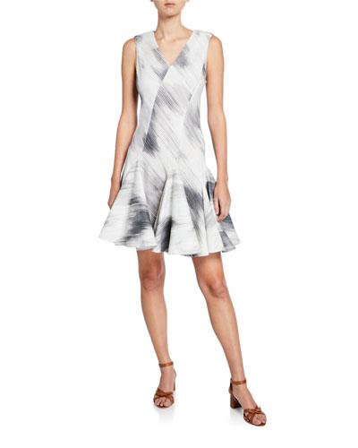 Textured Cotton V-Neck Sleeveless Dress w/ Seam Detail