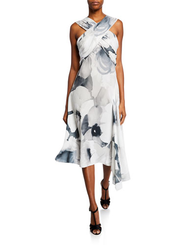 Eden Floral-Print Asymmetric Halter Dress
