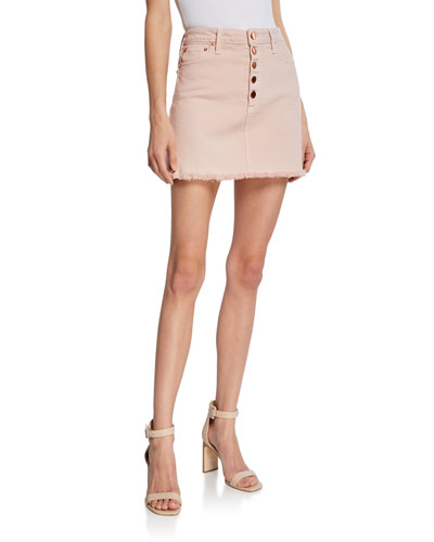 Good High-Rise Exposed Button Skirt