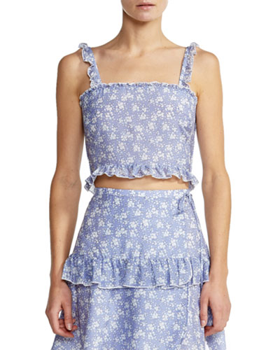 Romy Smocked Ruffle Floral Crop Top