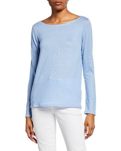 Boat-Neck Button-Back Long-Sleeve Stretch-Linen Tee