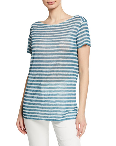 Mariniere Striped Boat-Neck Short-Sleeve Linen Tee