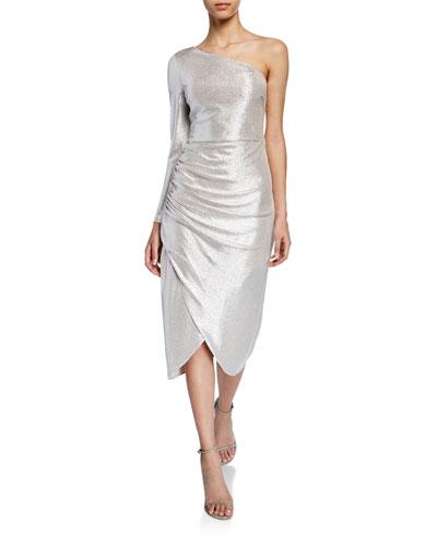 Metallic Foiled One-Shoulder Sleeve Knit Dress