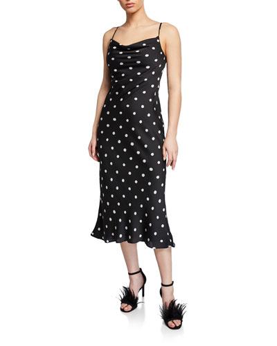 Polka-Dot Cowl-Neck Spaghetti-Strap Bias-Cut Slip Dress