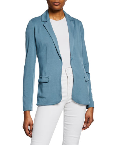 One-Button Long-Sleeve French-Terry Blazer