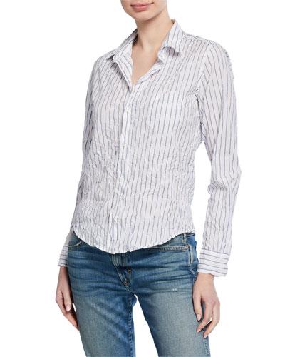 Striped Long-Sleeve Button-Down Cotton Shirt