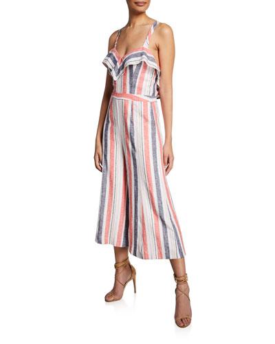 9ab04266984f Quick Look. Parker · Angie Striped Linen Wide-Leg Jumpsuit