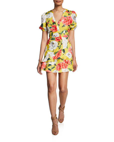 Parker Minna Floral Puff-Sleeve Mini Cotton Dress