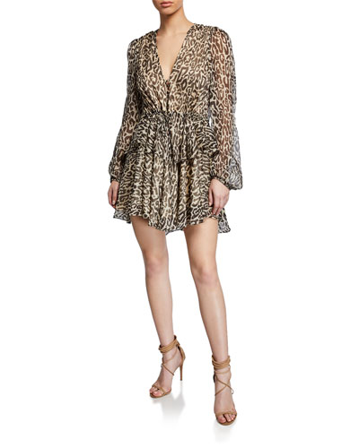 Mariposa Leopard-Print Long-Sleeve Drawstring Peplum Mini Dress