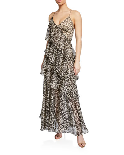 Mariposa Leopard-Print Tiered Ruffle Cross-Back Maxi Dress